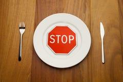 Het concept van het dieet - het einde eet Stock Foto