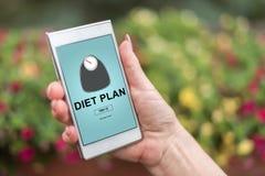 Het concept van het dieetplan op een smartphone stock afbeelding