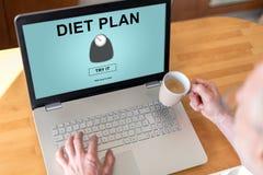 Het concept van het dieetplan op laptop stock fotografie
