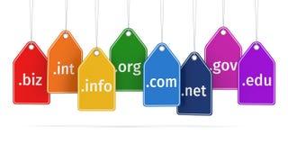 Het concept van het domein Etiketten op wit geïsoleerde achtergrond royalty-vrije illustratie