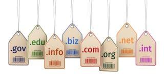 Het concept van het domein Etiketten op wit geïsoleerde achtergrond Royalty-vrije Stock Foto