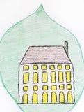 Het concept van het Ecohuis, groen geschilderd huis Stock Afbeelding