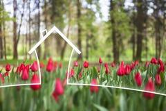 Het concept van het Ecohuis op aardachtergrond Royalty-vrije Stock Foto