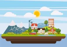 Het concept van het ecologielandschap iland, beeldverhaalstijl Stock Afbeelding