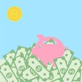 Het concept van het geldlandschap Stock Afbeeldingen