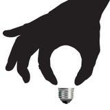 Het Concept van het Gloeilampenidee met Hand royalty-vrije illustratie