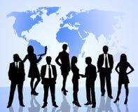 Het concept van het groepswerk met wereldkaart Stock Foto