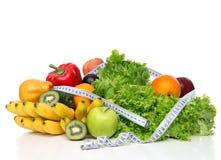 Het concept van het het verliesontbijt van het dieetgewicht met meetlint organische gre royalty-vrije stock afbeeldingen