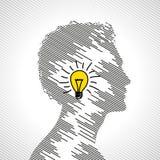 Het concept van het idee met menselijk hoofd vector illustratie