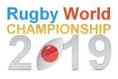 Het concept van het Kampioenschaps 2019 Japan van de rugbywereld, het 3D teruggeven Stock Afbeelding