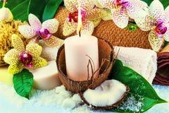 Het concept van het kuuroord met kaars, kokosnoot, orchidee stock fotografie