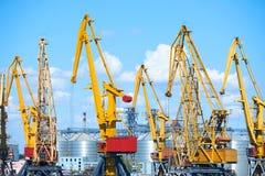 Het concept van het ladingsvervoer - industriële zeehaven en kranen, spoorwegen, pakhuizen Royalty-vrije Stock Fotografie