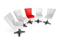 Het concept van het leidingsgroepswerk met bureaustoelen Stock Afbeeldingen