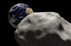 Het concept van het massauitsterven een komeet in ruimte voor effect met aarde wordt geleid die Elementen van dit die beeld door  Stock Foto