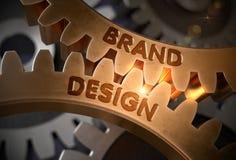 Het Concept van het merkontwerp Gouden tandraderen 3D Illustratie Royalty-vrije Stock Afbeeldingen