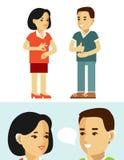 Het concept van het onbekwaamheidsdove Mensen met gehoorapparaat vector illustratie