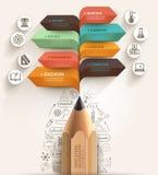 Het concept van het onderwijs Potlood en bellen het malplaatje van de toespraakpijl Stock Foto