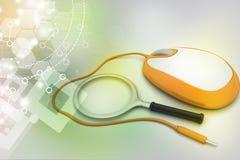 Het concept van het onderzoek Vergrootglas met Computermuis Royalty-vrije Stock Foto