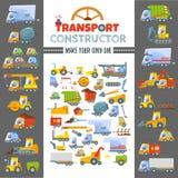 Het concept van het raadselspel om diverse voertuigen te maken Stock Foto's