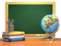 Het concept van het schoolonderwijs Bord, boeken, bol en potloden stock illustratie