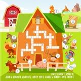 Het concept van het spelkruiswoordraadsel met ongeveer landbouwbedrijfdieren Stock Foto