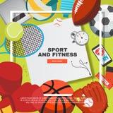 Het concept van het sportmateriaal met concurrerende spelentoebehoren royalty-vrije illustratie