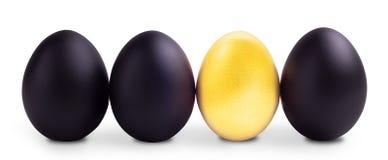 Het Concept van het successymbool met gouden en zwarte eieren Stock Afbeeldingen