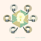 Het concept van het teamwerk met bol en zakenlieden Royalty-vrije Stock Foto