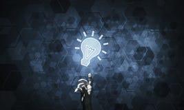 Het concept van het technologieidee met gloeiend bolpictogram en wat betreft het F Royalty-vrije Stock Afbeeldingen
