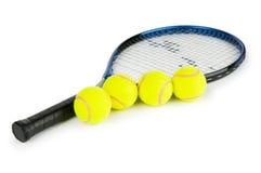 Het concept van het tennis met de ballen Stock Foto