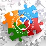 Het Concept van het tijdbeheer op Veelkleurig Raadsel. Stock Afbeelding
