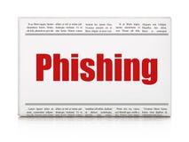 Het concept van het veiligheidsnieuws: krantenkrantekop Phishing Royalty-vrije Stock Foto