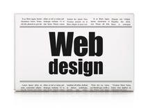 Het concept van het Webontwerp: het Webontwerp van de krantenkrantekop Stock Foto's