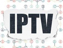 Het concept van het Webontwerp: IPTV op Gescheurde Document achtergrond Stock Fotografie