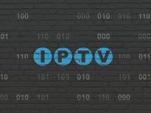 Het concept van het Webontwerp: IPTV op muurachtergrond Royalty-vrije Stock Afbeelding