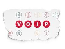 Het concept van het Webontwerp: VOIP op Gescheurde Document achtergrond Stock Afbeeldingen