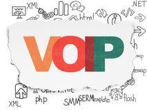 Het concept van het Webontwerp: VOIP op Gescheurde Document achtergrond Royalty-vrije Stock Fotografie