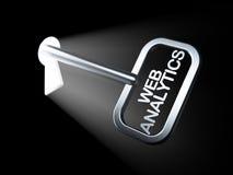 Het concept van het Webontwerp: Web Analytics op sleutel Stock Afbeelding