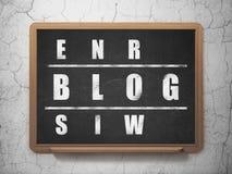 Het concept van het Webontwerp: woordblog in het oplossen van Kruiswoordraadsel Stock Foto