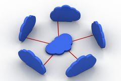 Het concept van het wolkenvoorzien van een netwerk Stock Foto's