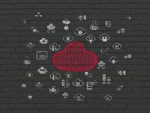Het concept van het wolkenvoorzien van een netwerk: Wolk met Code inzake muurachtergrond Stock Foto's