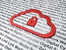 Het concept van het wolkenvoorzien van een netwerk:  Wolk met Hangslot op Digitale Technologieachtergrond Stock Foto's