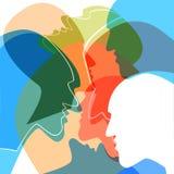 Het concept van hoofdenmensen, symbool van communicatie tussen mensen stock illustratie