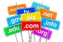 Het concept van Internet De Tekens van de domeinnaamkleur het 3d teruggeven Stock Afbeeldingen