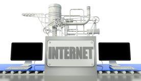 Het concept van Internet met computers en machine stock illustratie