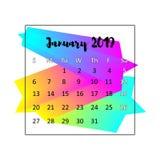 2019 het concept van het Kalenderontwerp Januari 2019 stock illustratie