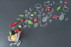 Het concept van het kruidenierswinkelboodschappenwagentje Royalty-vrije Stock Afbeelding