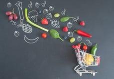 Het concept van het kruidenierswinkelboodschappenwagentje Stock Foto's
