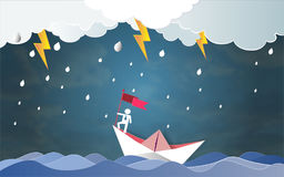 Het concept van het leidingssucces, Zakenman op hoogste holdingsvlag met boot tegen gekke overzees en blikseminslag in onweer royalty-vrije illustratie
