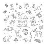 Het concept van het lijnwild met verschillende woestijndieren Vector vector illustratie